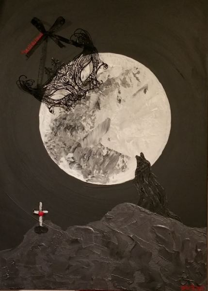 TABLEAU PEINTURE loup nuit noir masque Scène de genre Acrylique  - L'ETRE animal
