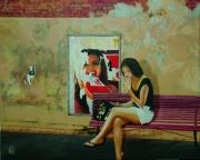 tableau scene de genre affiche jeune fille mur detente : Instant de détente