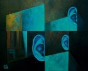 tableau abstrait murs oreilles lumiere bleu : Les murs ont des oreilles