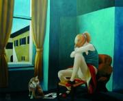 tableau scene de genre jeune fille lumiere chat annecy : L'ennui