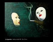 tableau abstrait fumer cigarette masque fumee : La cigarette