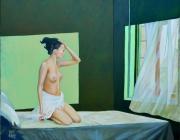 tableau scene de genre femme chambre rideaux lumiere : Le réveil