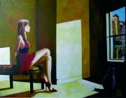 tableau scene de genre jeune fille annecy lumiere le matin : Jour d'été