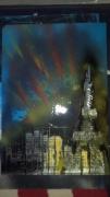 tableau architecture spray painting paris : La dame de feu
