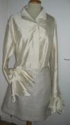 art textile mode abstrait soie jupe chemisier fete : ensemble beige