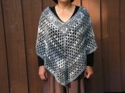 art textile mode autres poncho crochet laine echarpe : Poncho gris/blanc
