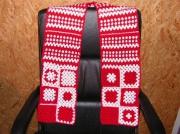 art textile mode echarpe tour de cou crochet cadeau : echarpe rouge/blanc