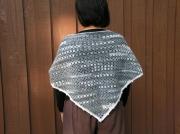 art textile mode chale crochet hiver cadeau : Châle gris/blanc