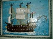 tableau marine bateau ,a voiles 3 mats : bateau d'époque à voiles