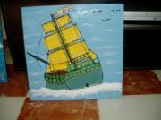 tableau marine bateau collage : bateau à voiles partant