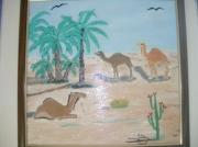 tableau animaux chameaux desert oasis : dromadaires