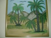 tableau paysages oasis desert palmiers : la palmeraie