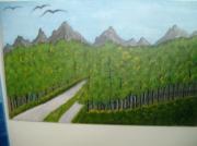 tableau paysages piste foret : piste forestière