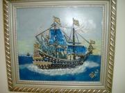 tableau marine galion navire bleu : galion bleu