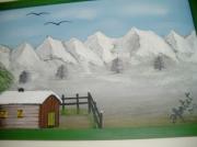 tableau paysages cabane berger montagne neige : cabane pastorale