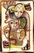 tableau personnages totem tetes visages : totem1