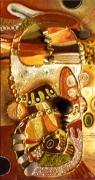 tableau abstrait graines mirroirs : tête ovale