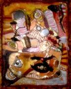 mixte abstrait collage coquillage miroir abstrait : collage marron 1