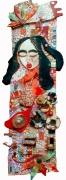 tableau personnages femme tissus : femme colorée