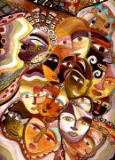 tableau personnages totem tetes visages : plein de têtes