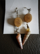 bijoux marine corna bois coquillage : BOUCLES D'OREILLES CORNA