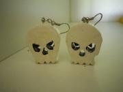 bijoux personnages crane blanc boucle d oreill : BOUCLES D'OREILLES CRANE