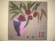 tableau fleurs fleurs vase : VASE ROSE