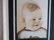 tableau personnages ileana enfant copil frumos : portrait-pyrogravure