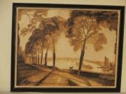 bois marqueterie paysages falais automne maron costi : pyrogravure