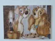 tableau personnages tableau maron chat deux : portrait-pyrogravure