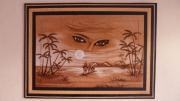 bois marqueterie abstrait yeux femme sahara africa : pyrogravure