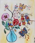 tableau fleurs fleurs oiseaux amour papillons : le bouquet d'amour