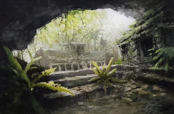 TABLEAU PEINTURE Ruines temples Exploration Alexis Le Borgne Voyage Asie Paysages Aquarelle  - Le début d'un voyage