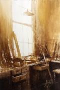tableau autres aquarelles scene interieur alexis le borgne peinture : Lumière dans l'atelier II