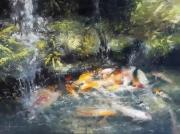 tableau animaux carpes koi nature jardin zen cascade : Dans un coin de jardin