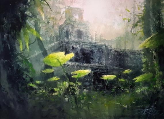 TABLEAU PEINTURE Ruines temples Exploration Alexis Le Borgne Jungle Forêt Paysages Aquarelle  - Découverte