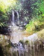 tableau paysages cascade eau nature zen meditation alexis le borgne : Ruissellement II