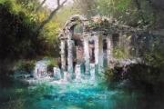 tableau paysages ruines temples reposant calme jungle foret riviere cascade : Jungle profonde