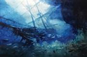 tableau marine navire epave bateau ocean : En contre plongée