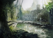 tableau architecture ruines temples exploration alexis le borgne voyage asie : Brume et mystère