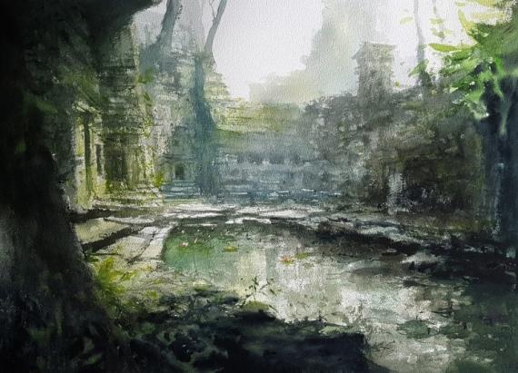 TABLEAU PEINTURE Ruines temples Exploration Alexis Le Borgne Voyage Asie Architecture Aquarelle  - Brume et mystère