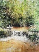 tableau paysages jardin japonais reposant zen ruisseau alexis le borgne : Méditation