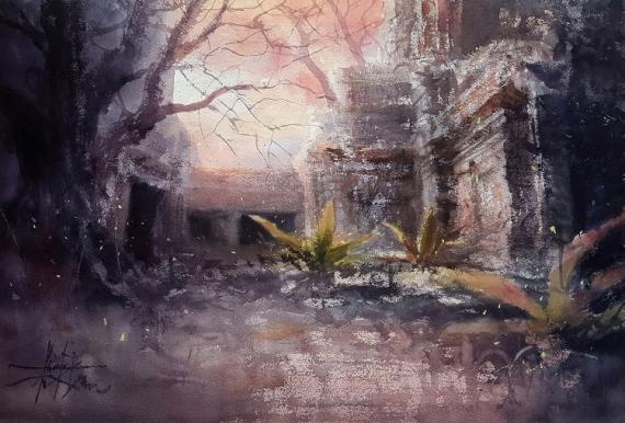 TABLEAU PEINTURE Ruines temples Lumière du soir Alexis Le Borgne Voyage Asie Paysages Aquarelle  - Au crépuscule