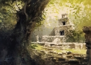 tableau paysages ruines temples exploration alexis le borgne voyage mexique : Ruines Maya