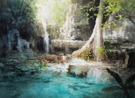 TABLEAU PEINTURE Ruines temples Cascade rivière Alexis Le Borgne Voyage Asie Paysages Aquarelle  - La cité perdue