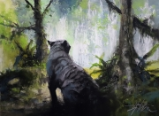 tableau animaux tigre blanc jungle cascade alexis le borgne nature sauvage : Sauvage