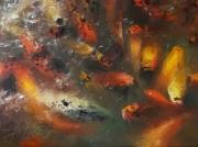 tableau animaux carpes koi peinture koi nishikigoi alexis le borgne : Éclat de vie