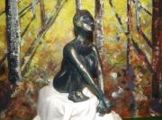 sculpture personnages argile cuite noire : femme