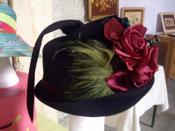 ART TEXTILE, MODE Chapeau Fleurs  - Rosalie