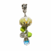 bijoux fleurs verre cristal de roche fleurs nature : Pendentif Fleur de la forêt